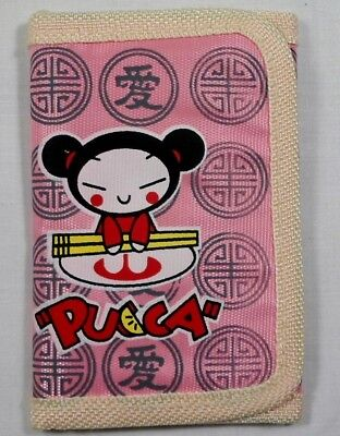 JAPANESE ANIME PUCCA 5'' SLIM WALLET w/ ZIPPER & CORD UNUSED F