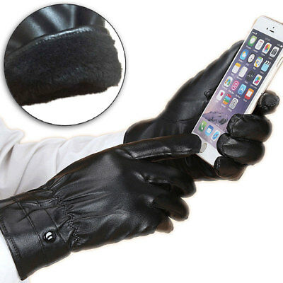 Winter Leather Thermal Warm Fleece Lined Gloves Men Women's Driving Touch Screen