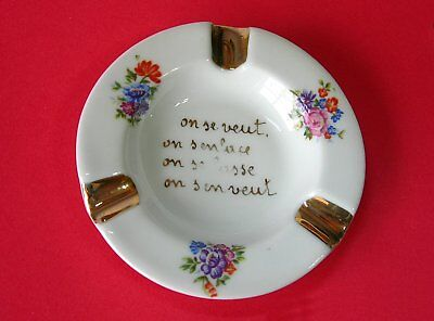 Limoges France ~ Ceramic Ashtray with Love Citation & Flower Very good Condition
