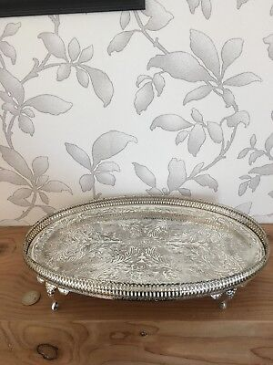 Vintage Silver look Footed tray
