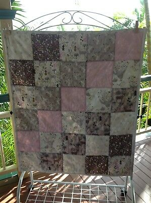 *SALE* Cot quilt, baby girl, pink, deer/rabbit-woodland, patchwork, 100% cotton