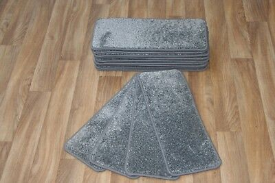 14 Carpet Stair Case Treads Vicace Grey 308 Saxony Large Pads Stair Pads