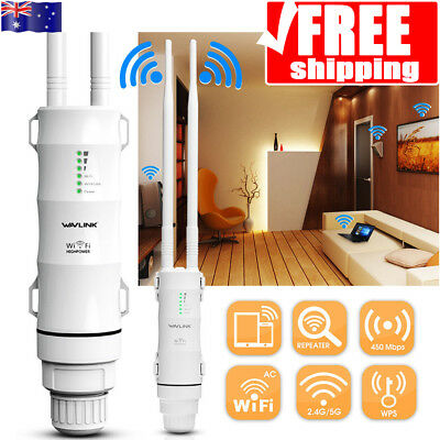 450Mbps Outdoor Wireless Range Extender WiFi Repeater Booster Network Router -AU