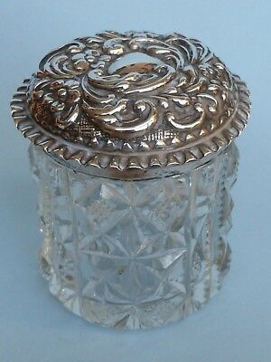 Victorian Silver and Glass Dresser Jar by William Henry Sparrow 1899