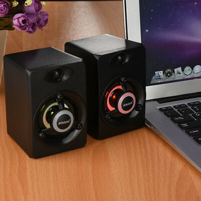 SADA DC5V Stereo PC Computer Desktop Speaker With Green/Red Atmosphere Light