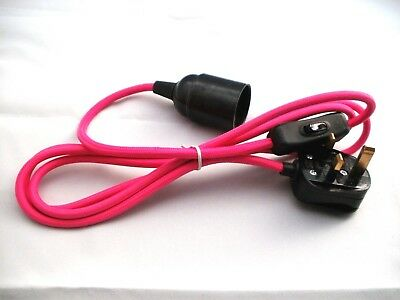 2 Metre 2 Core PINK Braided Lighting Cable / Flex Screw Bulb Fitting & switch.