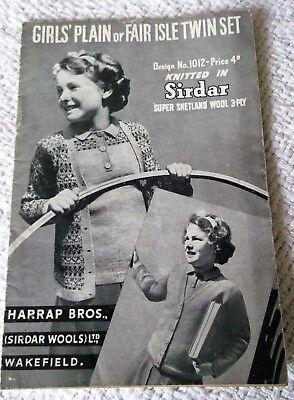 ORIGINAL, VINTAGE, 1940's, SIRDAR KNITTING PATTERN, No.1012 GIRL'S TWIN SET