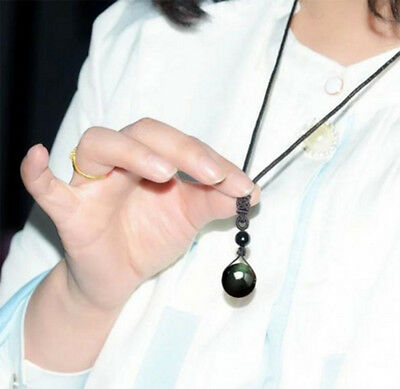 Women Men Natural Stone Necklace Black Obsidian Pendant Chain Jewelry Gift Lucky