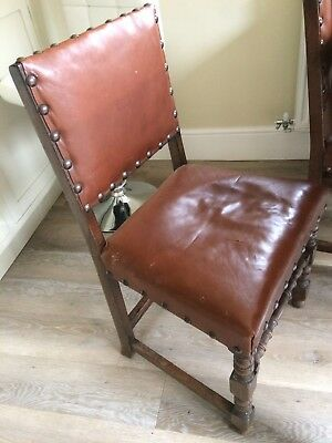 Set of 4 old antique Oak dining chairs with leather buttoned seats and backs