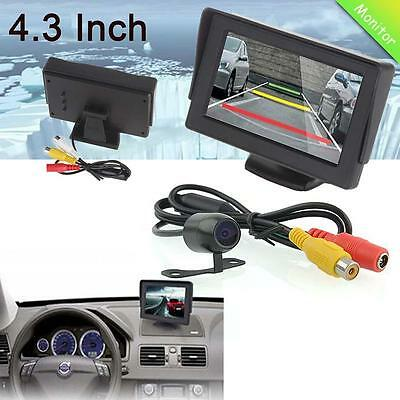 "Car Rear View 4.3"" Color LCD Screen Monitor + 170° CQAS Backup Reverse Camera UP"