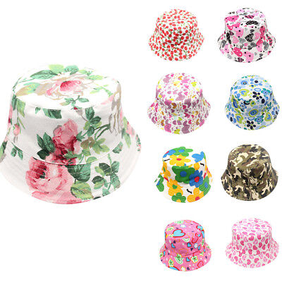 Toddler Baby Infant Kids Boys Girls Floral Pattern Bucket Hats Sun Helmet Cap UK