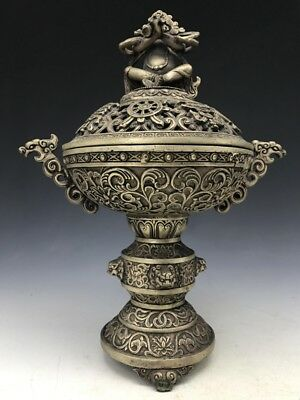 Chinese Ancient Pure Copper Pure Hand-Carved Incense Burner