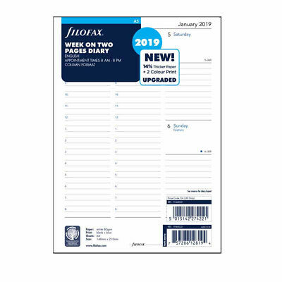 Filofax A5 Size 2019 Week On Two Pages Diary With Appointment Refill 19-68521 UK