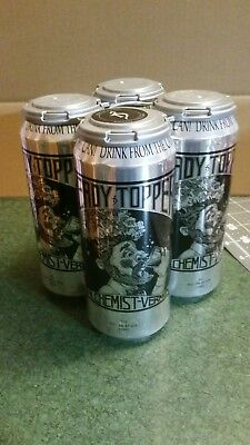 4 Heady Topper IPA Beer Cans EMPTY + Holder Alchemist Waterbury Vermont Brewery.