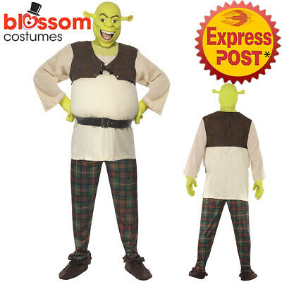CA186 Shrek Movie Ogre Licensed Costume Fairytale With Mask + Gloves Mens Outfit