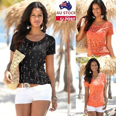 Women Floral Printed Short Sleeve Shirt Tops Summer Casual Blouse Tee Size S-2XL