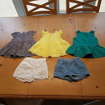 NEXT Girl's Broderie Tunic Tops, Summer Shorts Bundle Size 12 to 18 Months