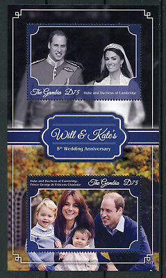Gambia 2016 MNH Prince William & Kate 5th Wedding Anniv 2v S/S Royalty Stamps
