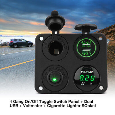 4 Gang ON/OFF Toggle Rocker Switch Green LED 2 USB Panel For Car Marine Boat ST
