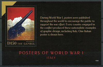 Gambia 2015 MNH WWI WW1 Posters of World War I Italy 1v S/S Military Stamps