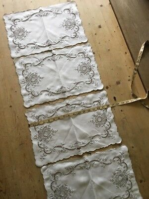 4 Vintage Cut Out Madeira Place Mats Embroidered