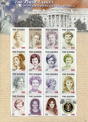 Gambia 2017 MNH First Ladies of USA Ford Nixon 6v M/S III US Presidents Stamps