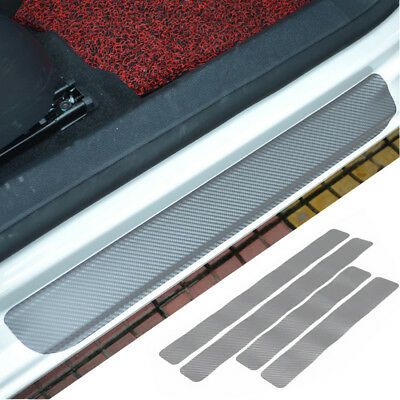 4Pcs Car Door Sill Scuff 3D Carbon Fiber Stickers Welcome Pedal Protect Sticker