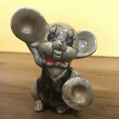Vintage Collectable Porcelain Mouse with cymbals 1960s kitsch