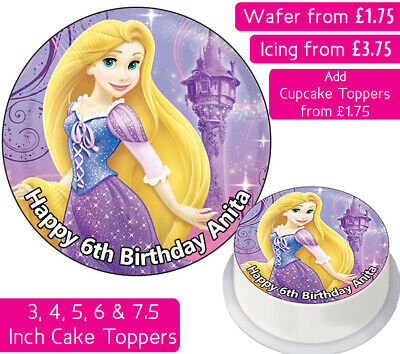 Rapunzel Edible Wafer & Icing Personalised Cake Topper Birthday Party Princess
