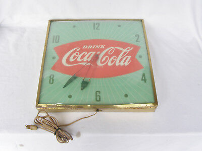 """Vintage 1960's Coca Cola Fishtail Soda Pop 15"""" Pam Clock Sign Domed Coke working"""