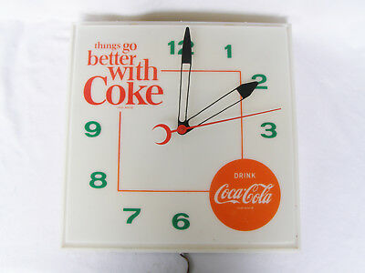 """Vintage Coca-Cola Lighted Clock """"Things Go Better with Coke"""" working"""