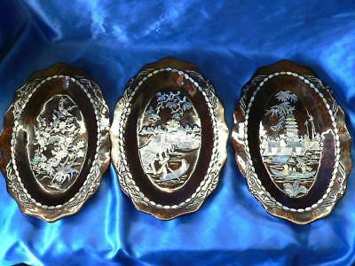 3  x Oriental Lacquered Wall Plaques Mother of pearl different designs