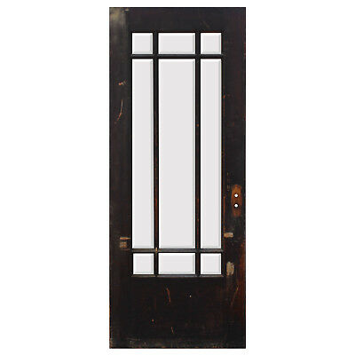 "Salvaged Antique 32"" Prairie Style Door with Beveled Glass, NED883"