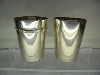 PAIR of Antique Solid Silver BEAKERS, 193 GRAMS a/f