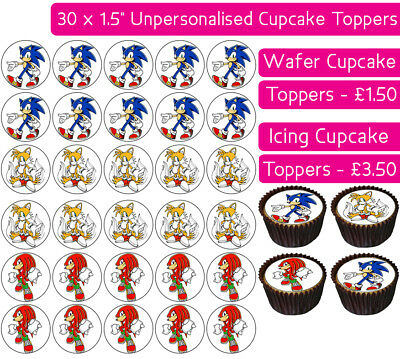 30 Sonic The Hedgehog Edible Wafer & Icing Cupcakes Toppers Birthday Party Tails