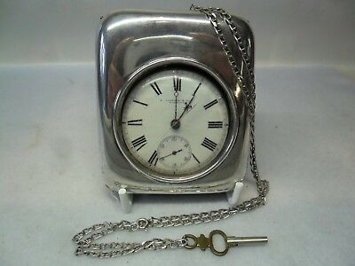 Victorian Solid Silver Pocket Watch with Stand Chain & Key, Lon 1877/99