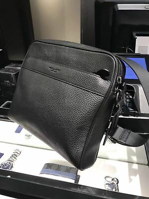 d9618682f778 New COACH F24876 Men s Black Pebbled Leather Charles Camera Bag  350.00