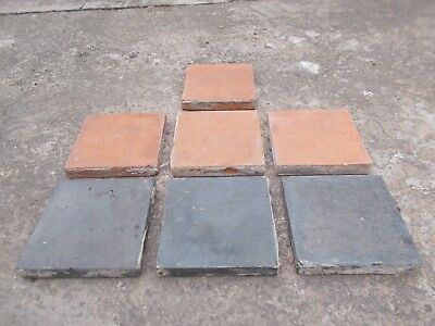 Reclaimed 6 inch x 6 inch Quarry Tiles, red and black ( 109 in total )