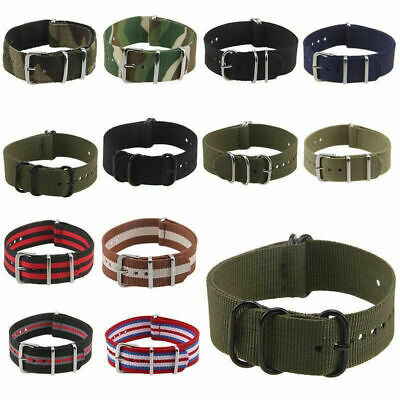 US Unisex Casual Infantry Military Nylon Wrist Watch Band Strap Buckle Colorful