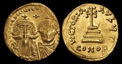 ANCIENT BYZANTINE : Heraclius 610-641AD gold Solidus Constantinople Mint. S-749.