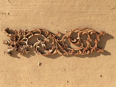 Antique Vintage Salvage Cast Iron Flower and Leaf Architectural Rail Post Insert