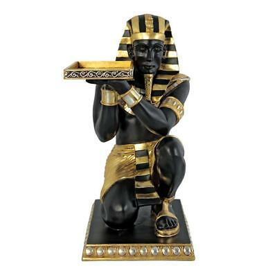 Egyptian Pharaoh's Kneeling Nubian Servant Indoor Side Table Hand Painted Statue