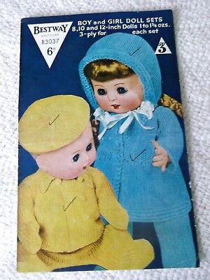 ORIGINAL, VINTAGE, 1950's, BESTWAY KNITTING PATTERN No.B3037 BOY & GIRL DOLL SET