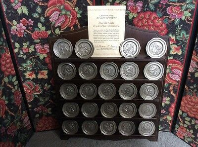 """Pewter Plate Miniature Collection """"Poor Richards""""  Includes rack with COA  FM"""