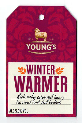 Young's Brewery Winter Warmer pump clip / badge. Rich ruby beer.