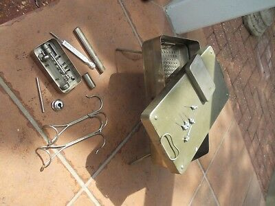 surgeons sterilization tray ANTIQUE SURGERY INSTRUMENTS thermometer