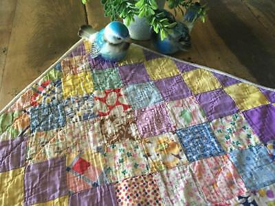 Vintage Purple & Yellow Feedsack Irish Chain FARMHOUSE Table Quilt RUNNER 20x11