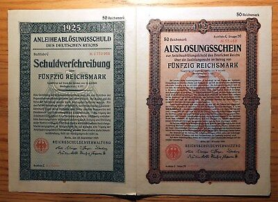 Weimar Germany, 1925 Replacement 'double Bond' - 50 Reichsmark Nice Xf   Hns