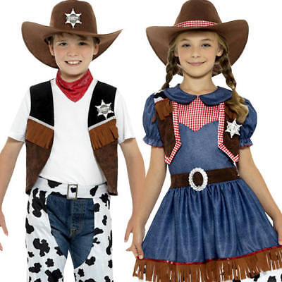 Wild West Cowboy or Cowgirl Texan Kids Fancy Dress Rodeo Western Childs Costumes