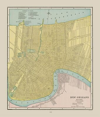 New Orleans Louisiana - Cram 1892 - 23 x 26.95
